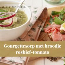 Courgettesoep met broodje rosbief-tonnato